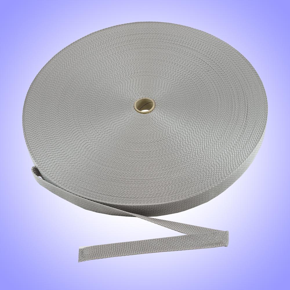 """1"""" - DuraGrip brand Heavyweight Polypropylene Webbing - Silver DG10SILWEBB-HW"""